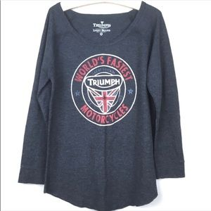 Triumph Lucky Brand Motercycle Long Sleeve Shirt M